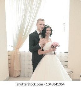 portrait of the bride and groom. the concept of creating a family