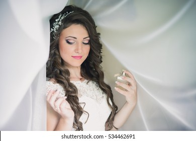 portrait of a bride in a white dress with a veil on her head. The bride, dress, love, wedding, married.