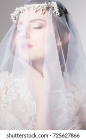 portrait of bride's beauty in veil and wedding dress smiles sensuality and harmony decoration on her head lace