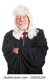 Portrait of a British style judge with wig.  Isolated on white.