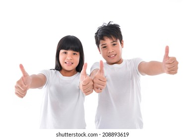portrait of a brother and sister together with giving a thumbs up of support and success