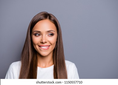 Portrait of brown-haired gorgeous attractive nice smiling foxy cute magnificent young lady thinking about plans over grey background, isolated, copy space