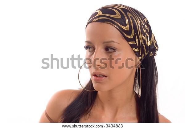 Portrait of a brunette woman Marija with scarf on her head