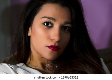Portrait of brunette woman, pretty girl, glamour model, sensual, make up, look, life style, person,  eyes, cosmetic, hair, attrattive, people, background, lips, face, luxury, pretty, skin, honed, sexy