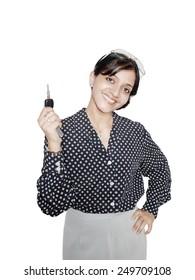Portrait of a business agent holding keys.