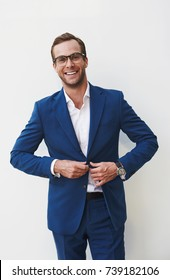 Portrait business man in blue suit in natural conterporary style
