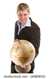 Portrait of a business man holding a globe model, isolated on white