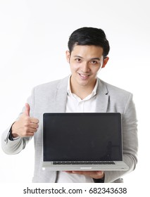 Portrait of business man isolated with Laptop