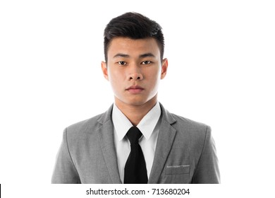 Portrait of a business man with suit. Isolated on white background