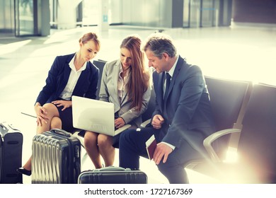 Portrait of business people working while waiting for boarding in airport