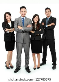 Portrait of business team smiling isolated on white background