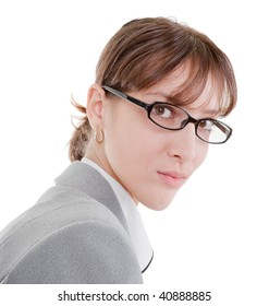 portrait of a business woman in glasses on white background