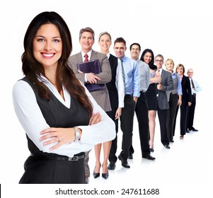 Portrait of business woman and group of workers people.