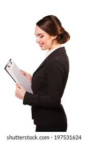 portrait of business woman handing black folder, isolated on white.