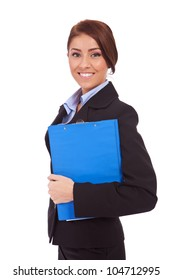Portrait of a business woman holding a clipboard, isolated on white background