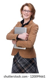 Portrait of a business woman holding laptop in her hands