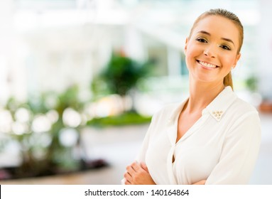 Portrait of a business woman looking very happy