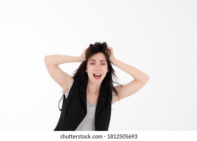 Portrait business woman messing hair feeling frustrate with white background