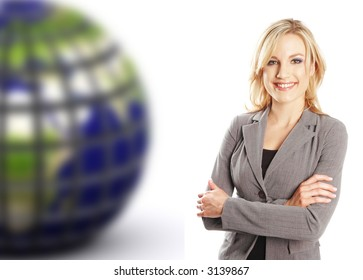 a portrait of a business woman next to the earth with the earth blurry in the background