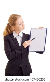 Portrait of the business woman with a represent folder
