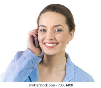 portrait of business woman talking on the phone, isolated over white
