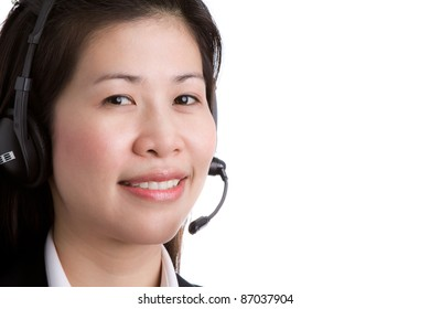 Portrait of business women call center wearing a headset against white background