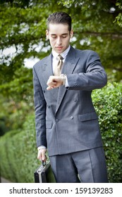 Portrait of a businessman carrying a briefcase and looking at his watch