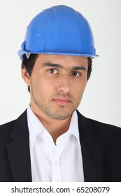 Portrait of a businessman with helmet