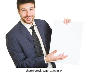 Portrait of  businessman holding paper on a white background