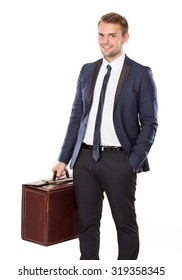 portrait of Businessman holding a suitcase ready to go on business trip