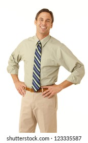 Portrait of a businessman on a white backdrop wearing a shirt and tie with his sleeves rolled up looking at camera