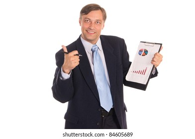 portrait of a businessman posing on white