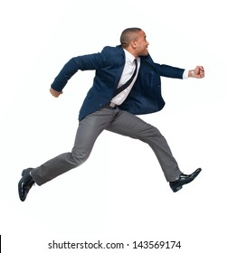 Portrait Of Businessman Running Isolated On White Background