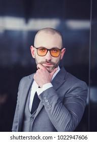 Portrait of an businessman in suit, outdoor