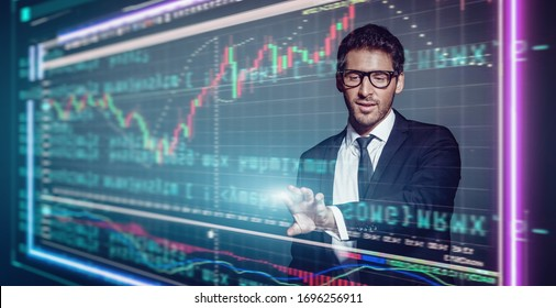 Portrait of a businessman in a suit and sunglasses against the background of charts of declining profitability and sales. Business concept.
