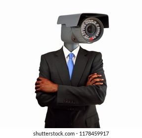 Portrait of a businessman with surveillance camera on head as concept of surveillance isolated cutout on white background