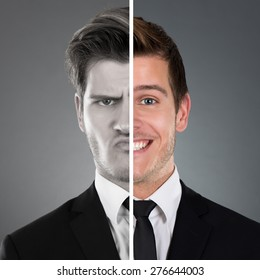 Portrait Of Businessman With Two Face Expression