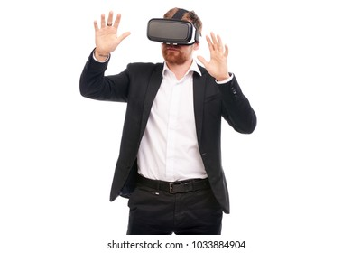 Portrait of businessman wearing virtual reality glasses