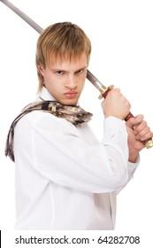 portrait of businessman in white shirt raising katana sword