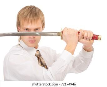 portrait of businessman in white shirt raising katana sword, on white background