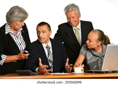 Portrait of businesspeople working with laptop on white background