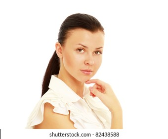A portrait of a businesswoman, close-up, isolated on white