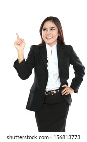 Portrait of businesswoman got idea isolated on white background