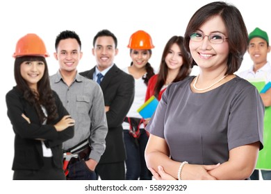 portrait of businesswoman with group of professional worker at the background