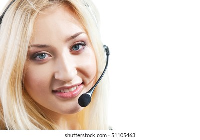 Portrait of businesswoman in headset isolated on over white