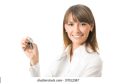 Portrait of businesswoman with keys, isolated on white
