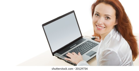 Portrait of businesswoman with laptop on a white background