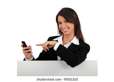 portrait of a businesswoman with phone