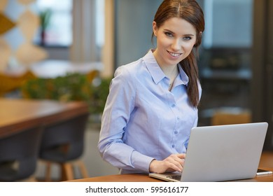 portrait of a businesswoman sitting on her workplace in the office, typing, looking at pc screen.
