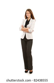 A portrait of a businesswoman, standing isolated on white